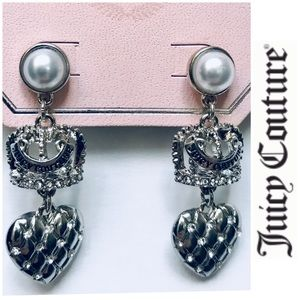NWT Juicy couture Crown pearl dangling earrings